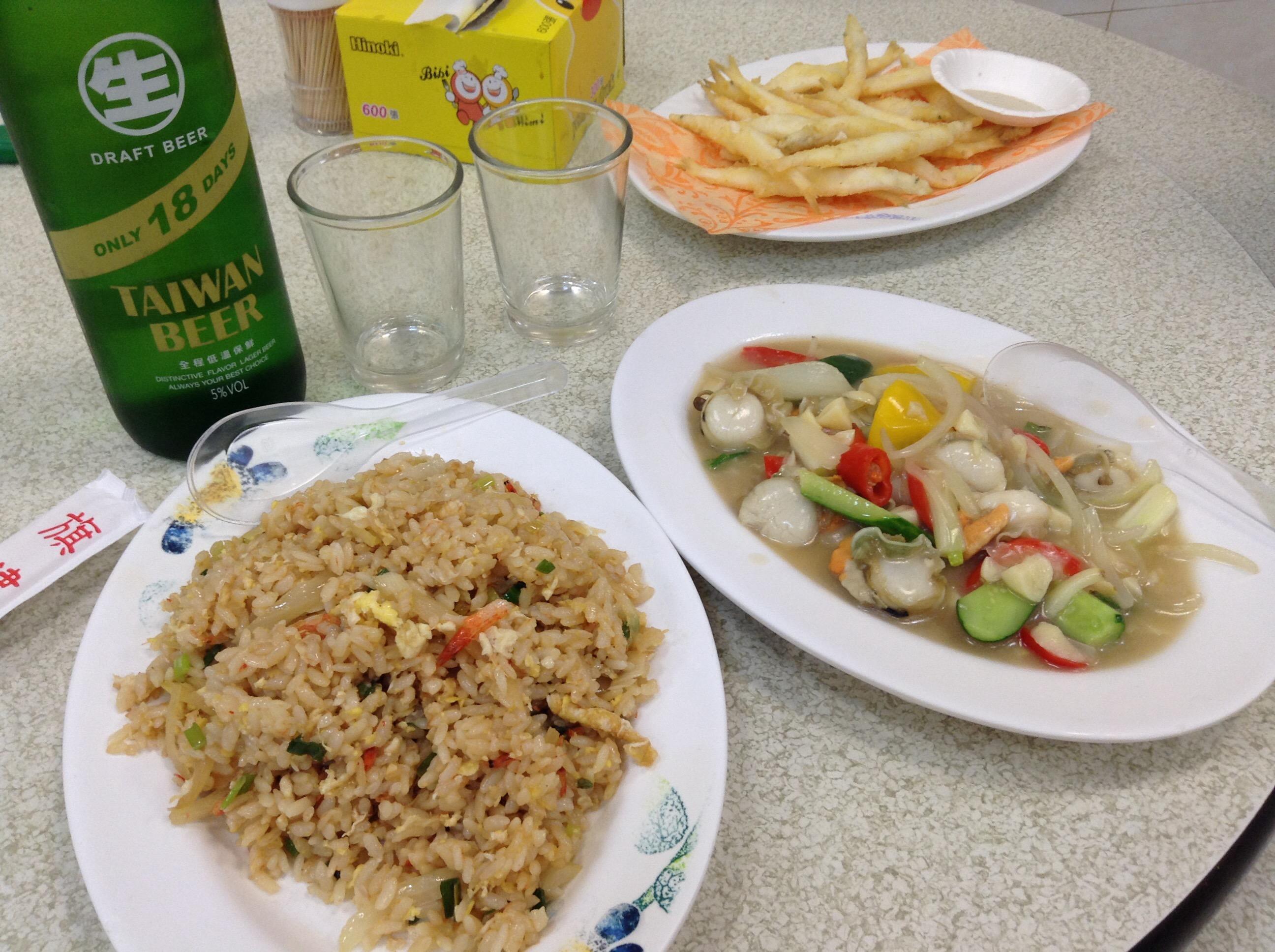 炒飯,貝の炒め物,白魚のてんぷら